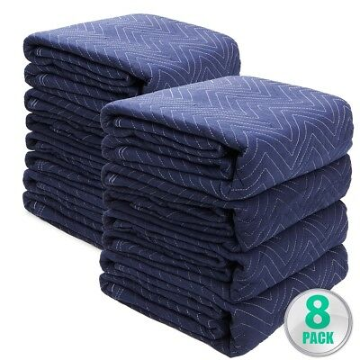 Lot of 8 Padded Moving Blanket Heavy Duty Furniture Moving Pads Protection 65LB