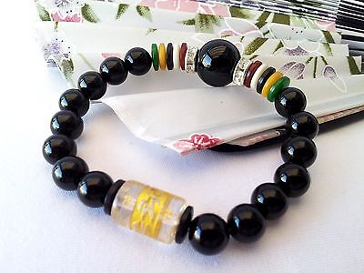 Feng Shui Black Agate beads bracelet with six syllables to ward off evil energy