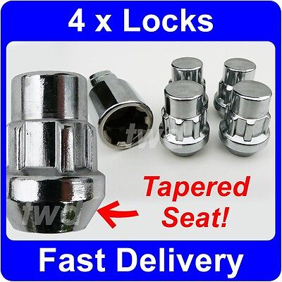 4 x TAPER SEAT ALLOY WHEEL LOCKING NUTS FOR JAGUAR X-TYPE S-TYPE LUG BOLTS [6P]