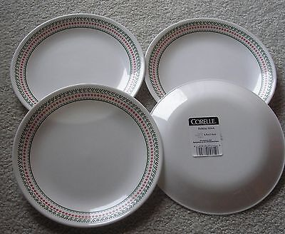 """Corelle Holiday Stitch    4  Lunch Plates  8.5"""" .  New"""