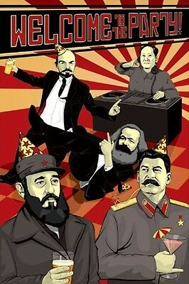 Communist Leaders POSTER Having a Party Political Humour Bar BRAND NEW
