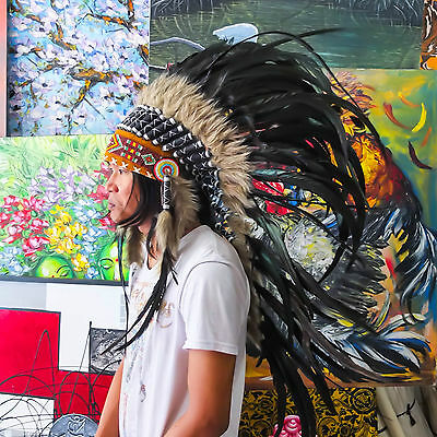 Real Chief Indian Headdress 95cm Native American Costume Feathers War Bonnet Hat