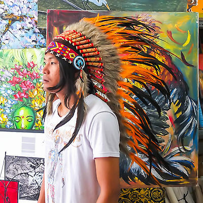Indian Headdress/ Native American Chief Costume - 95cm Real Feather War Bonnet