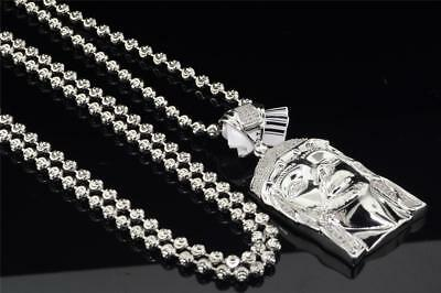 .925 Sterling Silver Diamond Jesus Face Piece Head Pendant with Chain 0.25 Ct