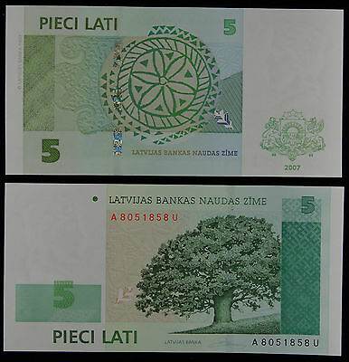 LATVIA Paper Money 5 Lati 2007 UNC