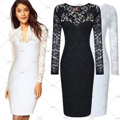 New Sexy Women's Celeb Vintage Lace V Neck Bodycon Cocktail Evening Party Dress