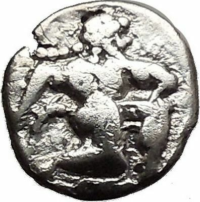 Lete Silver Ancient Greek Coin Nude Satyr Dionysus companion Pan Cult    i28597