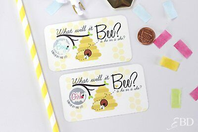 Guess the gender baby shower gender reveal scratch off game card