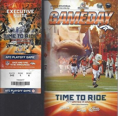 2013-14 Nfl Afc Playoffs Chargers @ Denver Broncos Football Program & Ticket