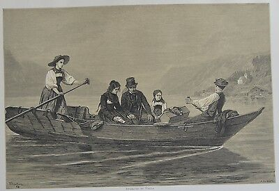 Antique Print. Mourners Crossing the Lake of Brienz. Switzerland, 1881.