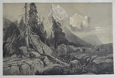 Antique Print. The Wellhorn and the Wetterhorn. Switzerland, 1881.
