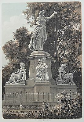 Antique Print. Monument at Basel in Commemoration of Fallen. Switzerland, 1881.