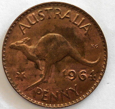 1964 Australian 1D One Penny QEII (  UNCIRCULATED )  (Very Nice)
