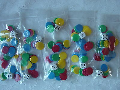 10 Packs of Counters and Dice, Tiddlywinks, total 160 (15mm) counters & 10dice