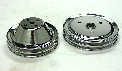 SBC 2 GROOVE CRANKSHAFT & SHORT WATER PUMP CHROME PULLEY SET SMALL BLOCK CHEVY
