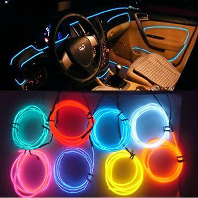 Car Interior Decor 12V Red LED Lamp Wire Luminescent Tube Ambient Light Strip 1M