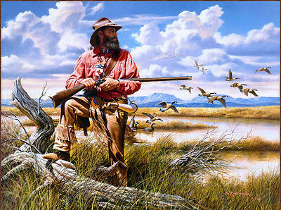Canvas prints Oil Painting Migratory bird and hunters in empty wilderness 20X24""