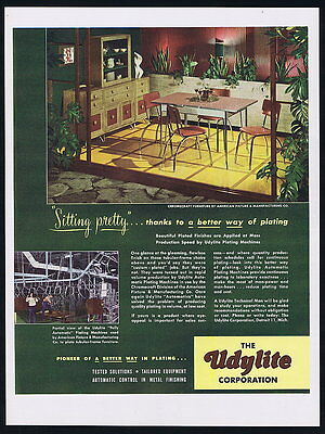 1949 Udylite Plating Chromecraft Table Chair Furniture Vintage Photo Print Ad