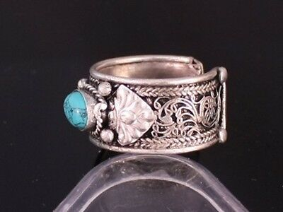 Half Inch Wide Thick Adjustable Tibetan Filigree Turquoise Gemstone Dorje Ring