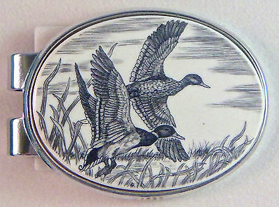 Money Clip Oval Barlow Scrimshaw Carved Painted Art Mallards Ducks Silver 539120