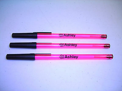 Personalized Translucent Stick Pens Pink & Black Pkg of 30 w/ Flower Super-Cute!