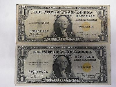 Two 1935-A Silver Certificate Yellow Seal Notes (Great)
