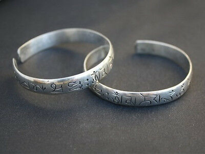 Long Tibetan 925 Silver Plated 3 Repetitive Mantra Om Mani Amulet Cuff Bracelet