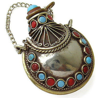 Delicate Large Tibetan 34 Turquoise Red Coral Spoon Snuff Bottle Amulet Pendant