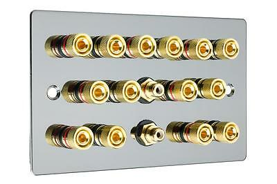 7.2  Flat Plate Polished Black Nickel/Gun Metal Speaker Audio Wall Face Plate
