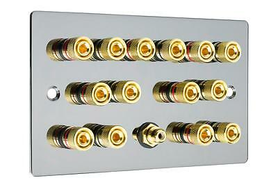 7.1  Flat Plate Polished Black Nickel/Gun Metal Speaker Audio Wall Face Plate