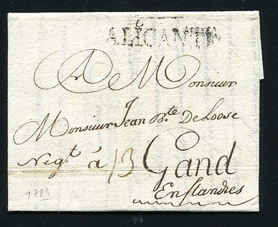 1784 Spain prephilatelic cover to Belgium