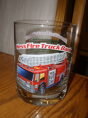 1996 Hess - Fire Truck - Bank Drinking Glass - New