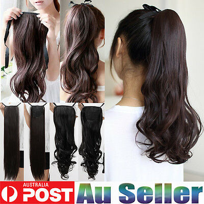 AU Seller Deluxe clip in pony tail binding ponytail hair extensions women lady
