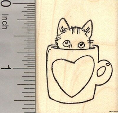Valentine's Day Cat Rubber Stamp, in Coffee Mug with Heart  E23406 WM