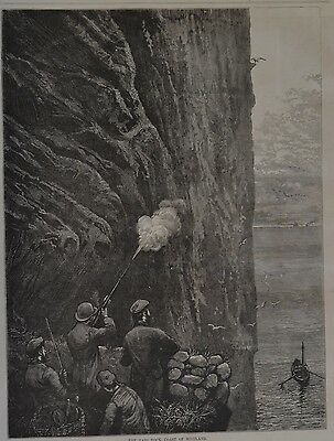 Harper's Weekly, 1876. The Bass Rock, Coast of Scotland. Wood Engraving.