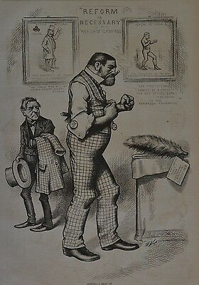 Harper's Weekly, 1876. Thomas Nast. Putting a Head On. Wood Engraving.