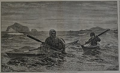 "Harper's Weekly, 1876. ""The First Lessing in Canoeing"". Wood Engraving."