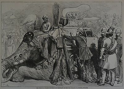 Harper's Weekly, 1876. The Prince of Wales, Lushkur, Gwalior. Wood Engraving.