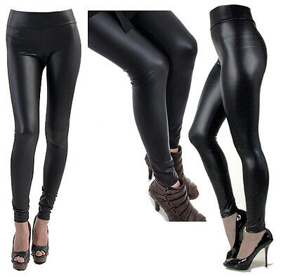A-Express® HIGH WAIST Wet Faux Leather Look Matt Leggings Jeggings Tight Pants