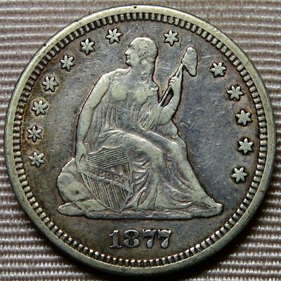 1877-CC Liberty Seated Quarter * Full LIBERTY * Excellent Carson City Coin