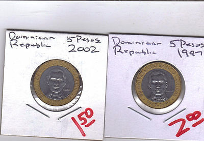 From Show Inv. - 2 BI-METAL 5 PESO COINS..the DOMINICAN REPUBLIC..1997 & 2005