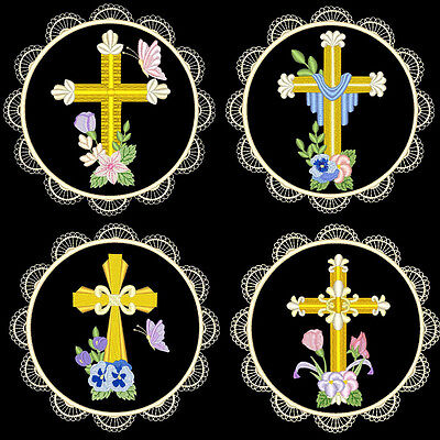 Beautiful Golden Crosses - 36 Machine Embroidery Designs (Azeb)