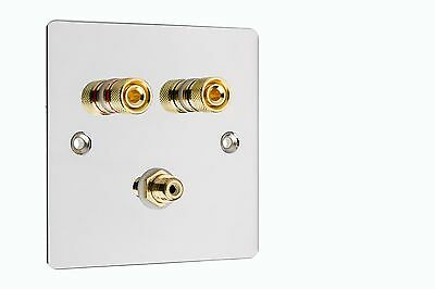 Speaker Wall Plate 1.1 Chrome 2 Gold Binding Posts + 1 RCA Sub Woofer Socket