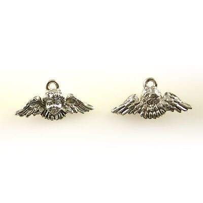 Angel Face with Wings - 5 Lead Free Antique Silver Pewter Charms