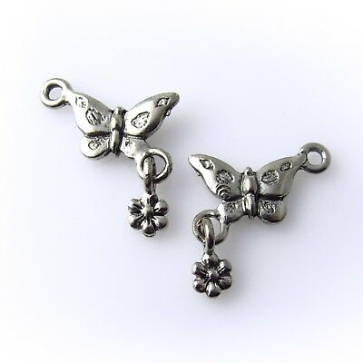 Butterfly with Linked Flower - 5 Lead Free Antique Silver Tone Pewter Charms