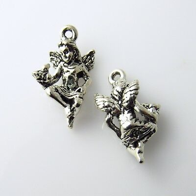 Crouching Angel with Bird - 5 Lead Free Antique Silver Tone Pewter Charms