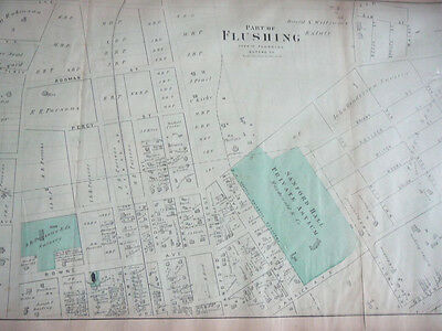 Flushing, NY 1873 original map from Beers Atlas