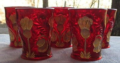 FIVE Ruby Red with Gold Inverted Thistle Tumblers Glasses