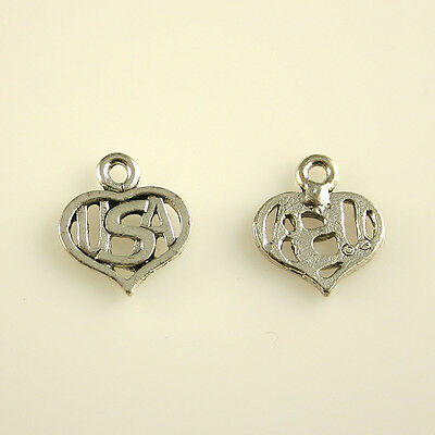 5 Lead Free Antique Silver Tone Pewter Charms Puffy Heart