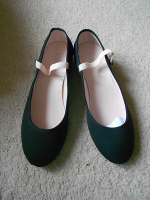 Black canvas low heel regulation syllabus character dance shoes - assorted sizes